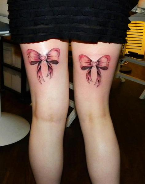 Realistic Leg Ribbon Tattoo by Dingo Tattoo