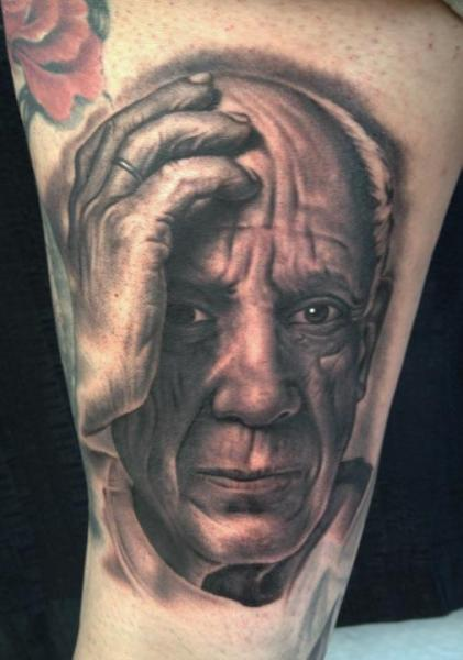 Arm Portrait Realistic Picasso Tattoo by Bob Tyrrel