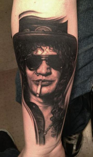 Arm Portrait Realistic Slash Tattoo by Bob Tyrrel