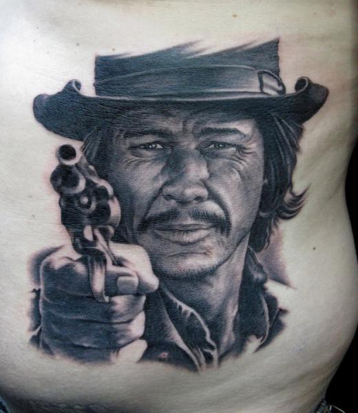 Portrait Realistic Belly Tattoo by Bob Tyrrel