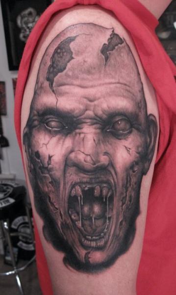 Shoulder Monster Tattoo by Bob Tyrrel