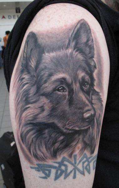 Shoulder Realistic Dog Tattoo by Bob Tyrrel