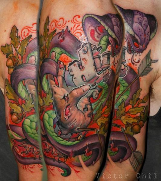 Arm New School Snake Tattoo Machine Tattoo by Victor Chil