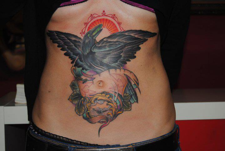 New School Belly Crow Hat Tattoo by Victor Chil