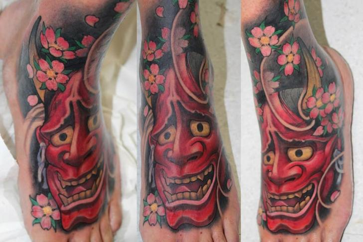 Foot Japanese Demon Tattoo by Victor Chil