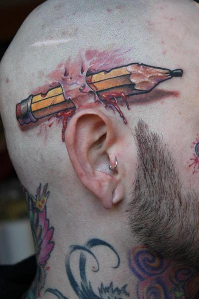 Fantasy Head Pencil Scar Tattoo by Victor Chil