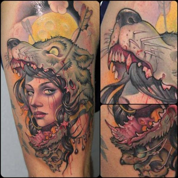 Womens Wolf Tattoo Thigh Tattoos Women Wolf Womens Thigh: Leg Women Wolf Tattoo By Victor Chil