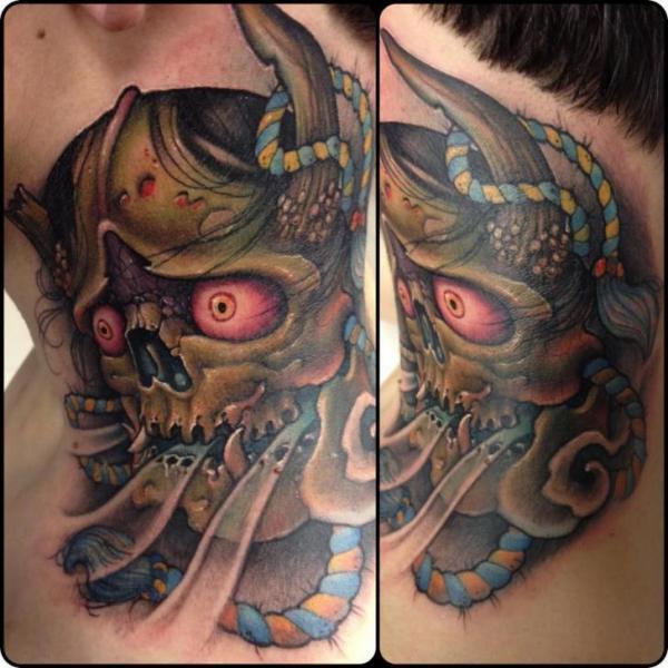 Tatuaje Japoneses Cuello Demonio por Victor Chil
