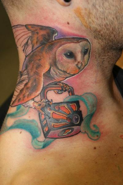 New School Neck Owl Lock Tattoo by Victor Chil