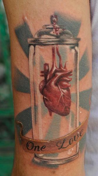 Arm Realistic Heart Lettering 3d Tattoo by Radical Ink