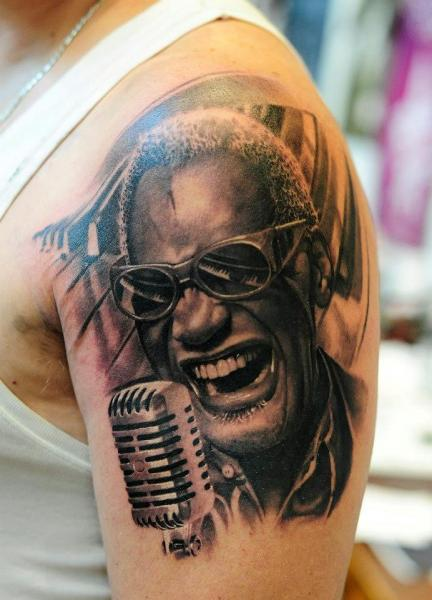 Shoulder Realistic Ray Charles Tattoo by Radical Ink