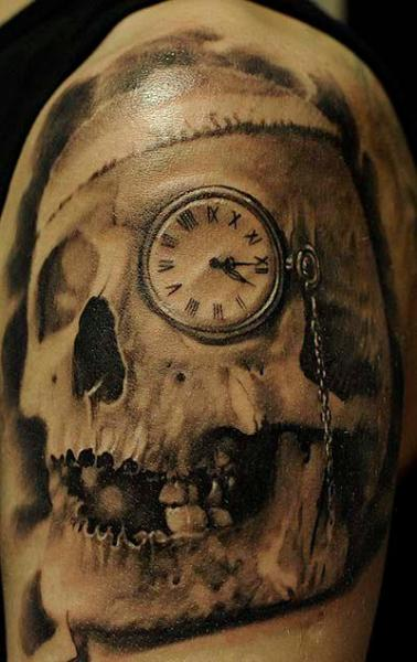 Shoulder Realistic Clock Skull Tattoo by Radical Ink