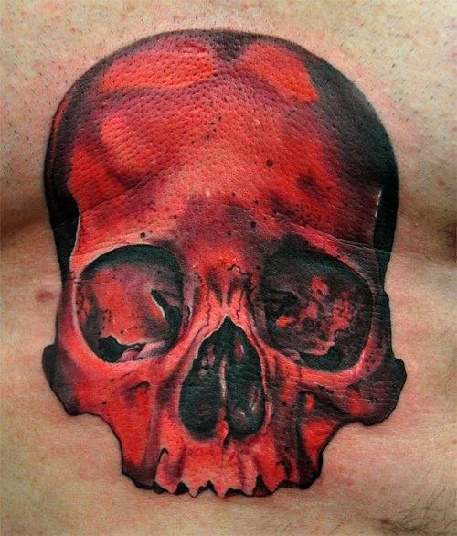 Chest Skull Tattoo by Triple Six Studios