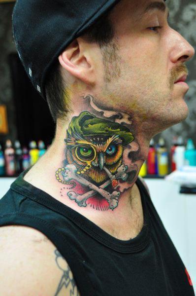 New School Skull Neck Bone Tattoo by Triple Six Studios