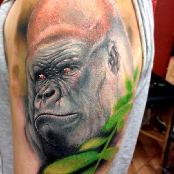 Shoulder Realistic Gorilla Tattoo by Triple Six Studios