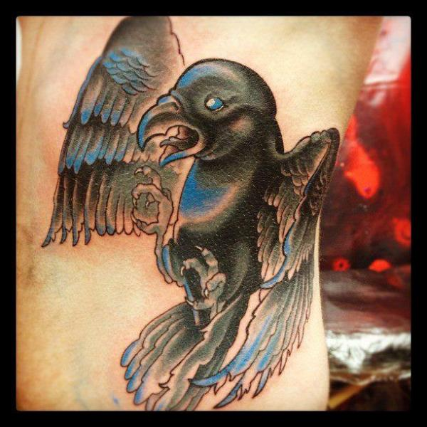 Fantasy Side Crow Tattoo by Triple Six Studios