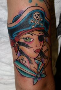 Arm Fantasy Pirate Tattoo by Fatink Tattoo