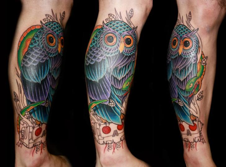 Arm New School Owl Tattoo by Fatink Tattoo