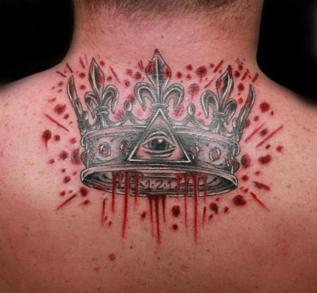 Back Crown Blood Tattoo by Fatink Tattoo