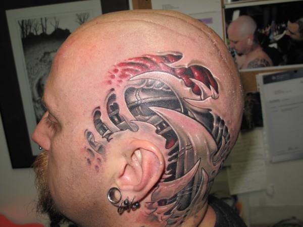 Biomechanical Head Tattoo by Fatink Tattoo