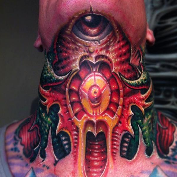 Biomechanical Neck Tattoo by Fatink Tattoo