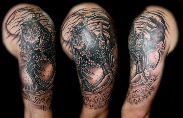 Shoulder Fantasy Death Tattoo by Fatink Tattoo