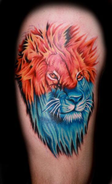Shoulder Fantasy Lion Tattoo by Fatink Tattoo