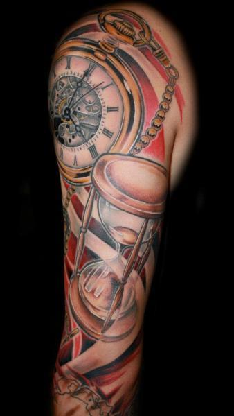 Realistic Clock Clepsydra Sleeve Tattoo by Fatink Tattoo
