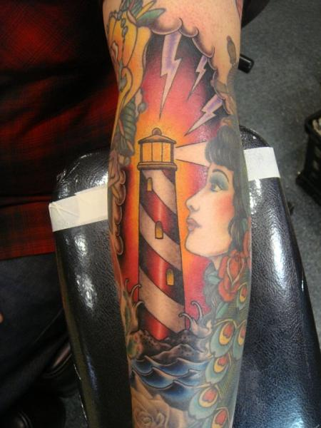 Arm New School Lighthouse Tattoo by Power Tattoo Company