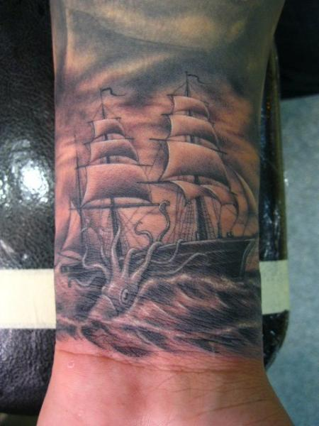 Arm Realistic Galleon Octopus Tattoo by Power Tattoo Company