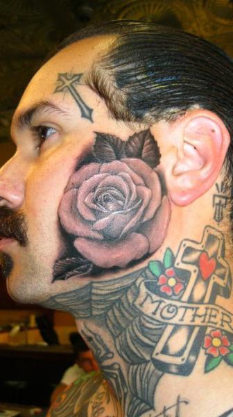 Realistische Blumen Gesichts Rose Tattoo von Power Tattoo Company