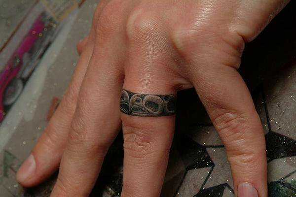Finger Ring Tattoo by Power Tattoo Company