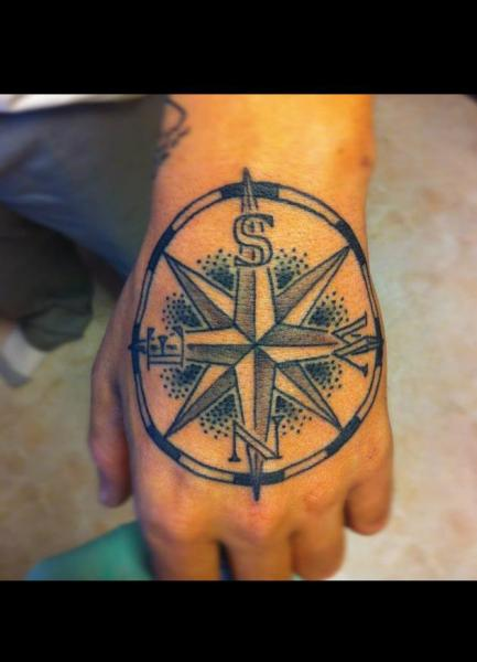 Hand Wind Rose Tattoo by Power Tattoo Company