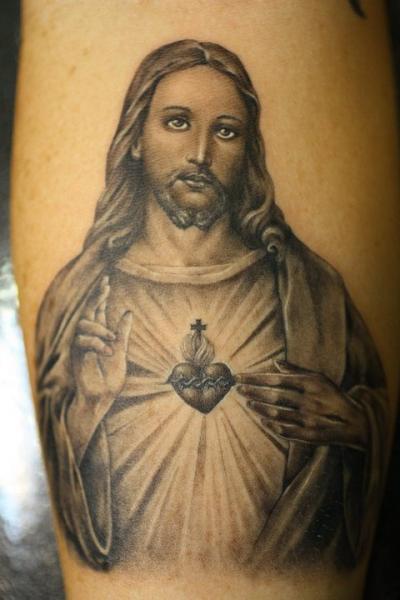 Leg Jesus Religious Tattoo by Power Tattoo Company