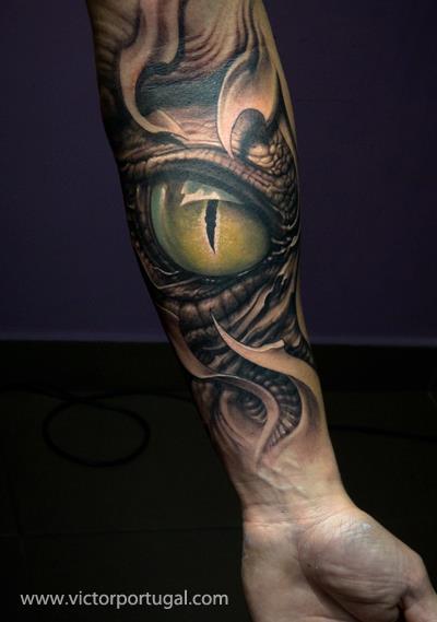 Arm Biomechanical Fantasy Eye Tattoo by Victor Portugal