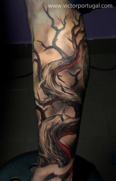 Arm Fantasy Tree Tattoo by Victor Portugal