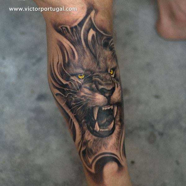 Arm Realistic Lion Tattoo by Victor Portugal