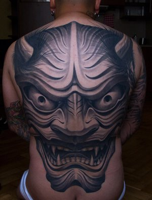 Japanese Back Demon Tattoo by Victor Portugal