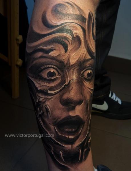 Fantasy Leg Women Tattoo by Victor Portugal