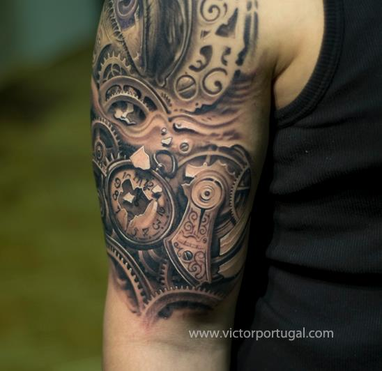 Shoulder Realistic Clock Tattoo by Victor Portugal