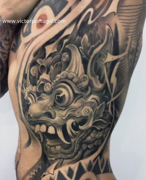 Side Japanese Demon Tattoo by Victor Portugal