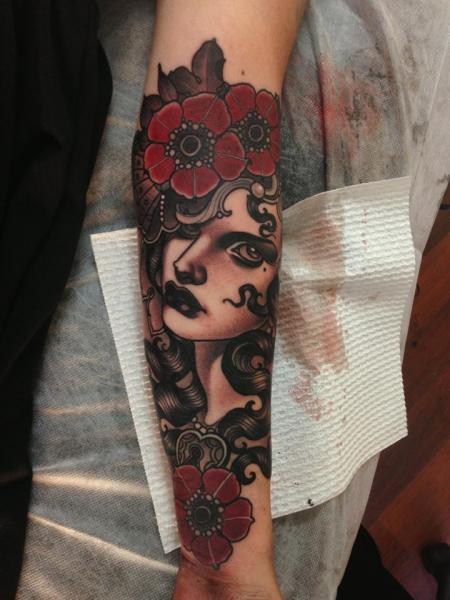 Old School Kopf Tattoo von Emily Rose Murray