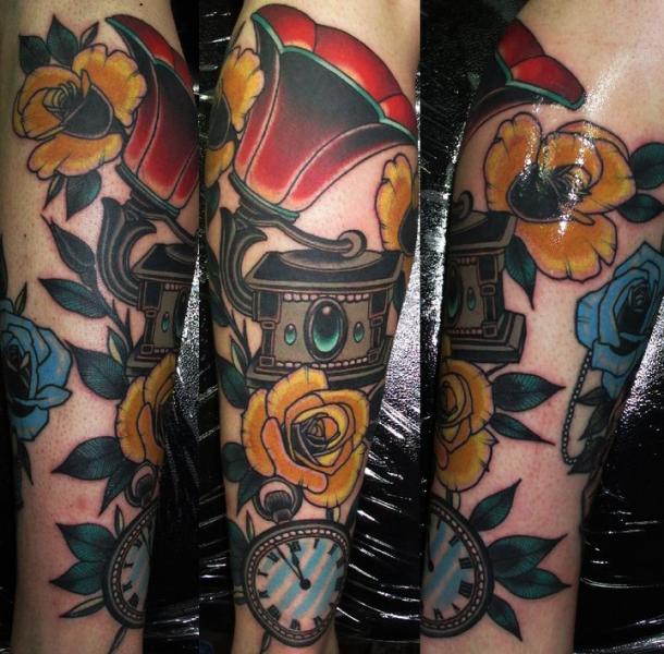 Arm Clock New School Gramophone Tattoo by Emily Rose Murray