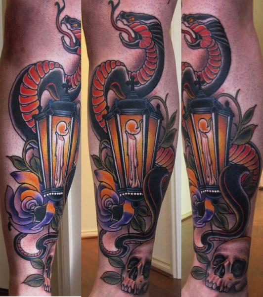 Arm New School Snake Lamp Tattoo by Emily Rose Murray