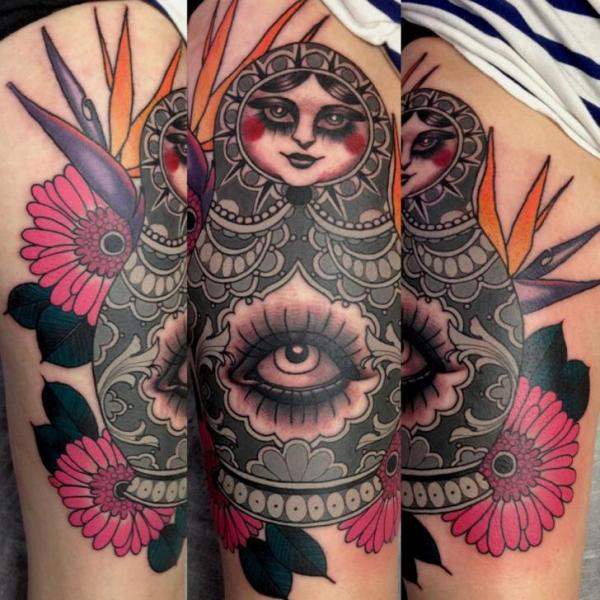 Arm Old School Eye Matryoshka Tattoo by Emily Rose Murray