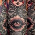 Arm Old School Auge Matryoshka tattoo von Emily Rose Murray