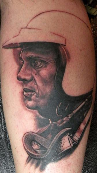 Arm Portrait Realistic Helmet Tattoo by Emily Rose Murray