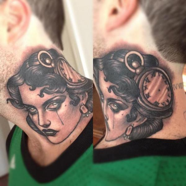 Clock New School Neck Gypsy Tattoo by Emily Rose Murray