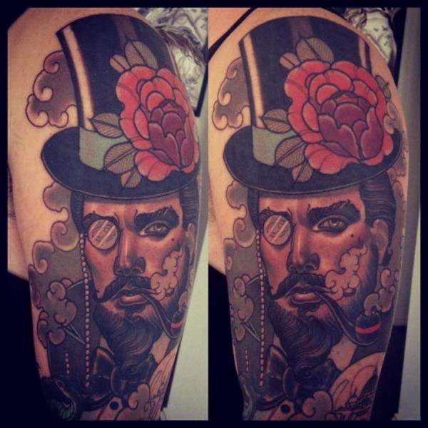 Shoulder New School Men Hat Tattoo by Emily Rose Murray