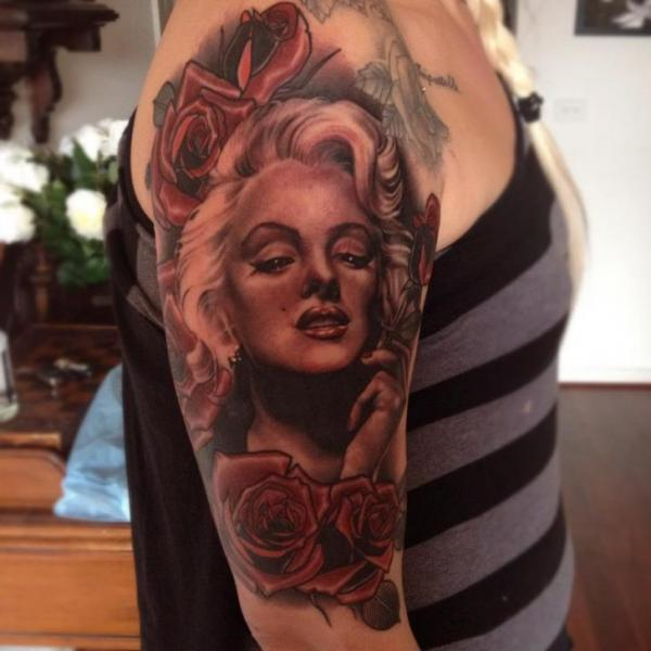 Shoulder Realistic Flower Marilyn Monroe Tattoo by Emily Rose Murray